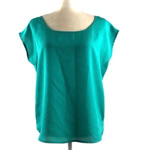 Francesca's Collections Teal Keyhole Dolman Top